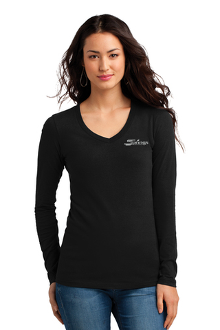 Women's Long Sleeves V-Neck Junior Sizes