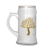 Tree Ceramic Beer Stein Gold Trim - Picsia Clothing and More