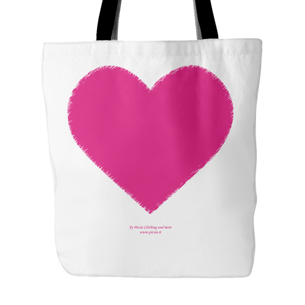 Heart (1)  18 x 18 tote bag 100% spun polyester poplin fabric - Picsia Clothing and More