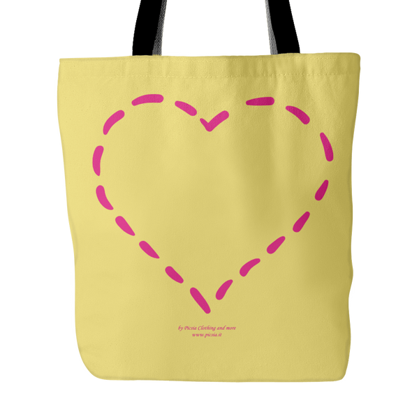 Heart (4)  18 x 18 tote bag 100% spun polyester poplin fabric - Picsia Clothing and More