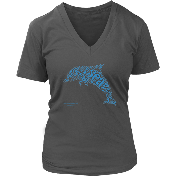Dolphin Design Graphic Printed District Women's V-Neck Casual Tee T-shirt for Ladies - Picsia Clothing and More