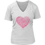 Heart (5) Design Graphic Printed District Women's V-Neck Casual Tee T-shirt for Ladies - Picsia Clothing and More