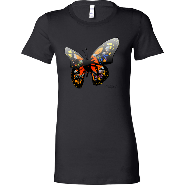 Butterfly Design Graphic Printed Bella Women's Shirt Casual Tee T-shirt for Ladies - Picsia Clothing and More