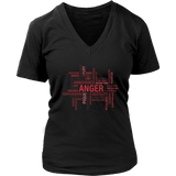 Anger Design Graphic Printed District Women's V-Neck Casual Tee T-shirt for Ladies - Picsia Clothing and More