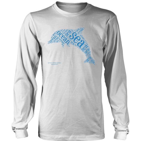 Dolphin Design Graphic Printed District Long Sleeve Shirt Casual Tee T-shirt - Picsia Clothing and More