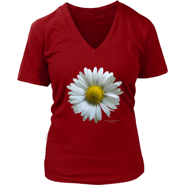 Flower Design Graphic Printed District Women's V-Neck Casual Tee T-shirt for Ladies - Picsia Clothing and More