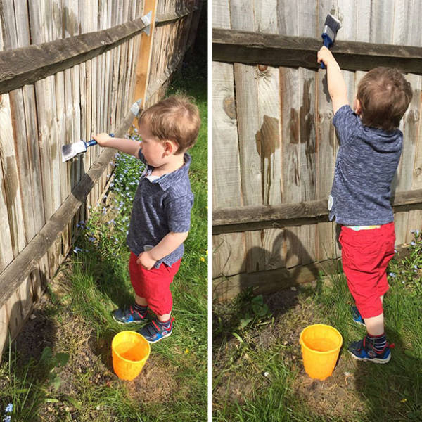 01-keep-your-toddler-busy-by-letting-them-paint-the-fence-with-water-quothere-help-me-stain-this-fencequot