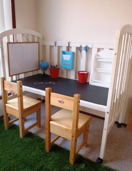 06-recycle-old-cot-into-a-craft-or-work-spot-for-your-kids