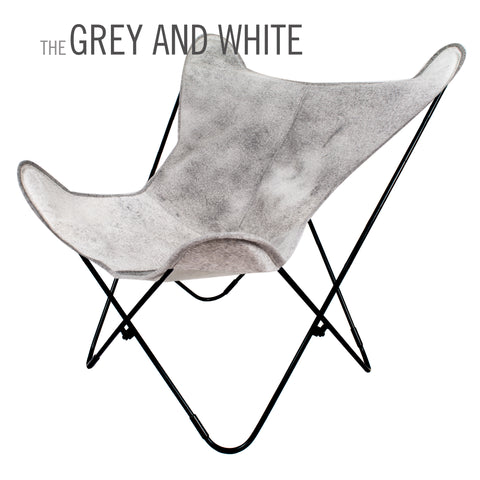 GREY AND WHITE COWHIDE LEATHER BUTTERFLY CHAIR