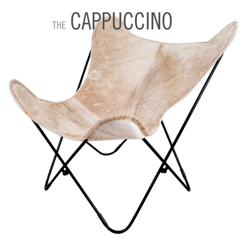 THE CAPPUCCINO COWHIDE BUTTERFLY CHAIR