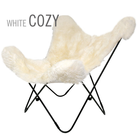 WHITE COZY SHEEPSKIN BUTTERFLY CHAIR