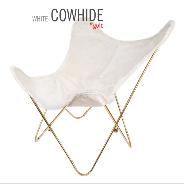 LIMITED WHITE COWHIDE LEATHER BUTTERFLY CHAIR