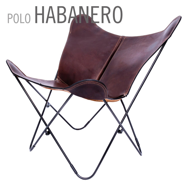 POLO LEATHER BUTTERFLY CHAIR WITH OTTOMAN