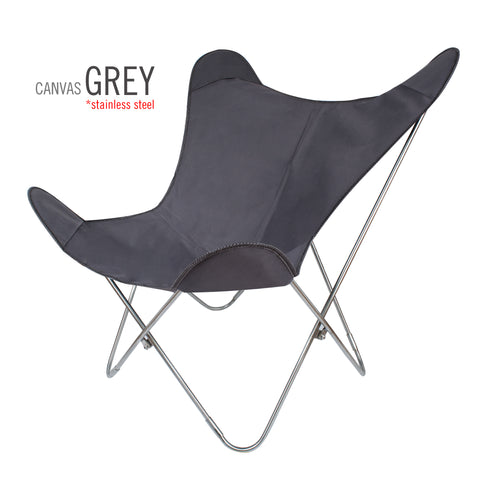 SUNBRELLA FABRIC GREY BUTTERFLY CHAIR