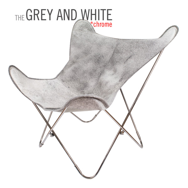 SPECIAL EDITION SNOWY WHITE AND GREY COWHIDE LEATHER BUTTERFLY CHAIR