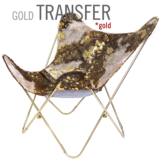 COWHIDE GOLD TRANSFER LEATHER BUTTERFLY CHAIR