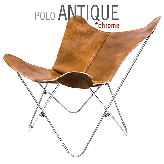 POLO ANTIQUE LEATHER BUTTERFLY CHAIR