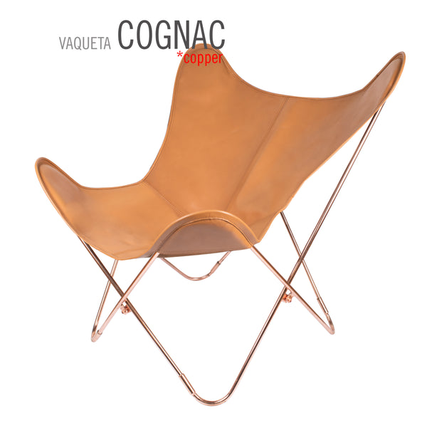 VAQUETA COGNAC LEATHER BUTTERFLY CHAIR