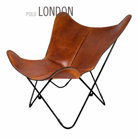 Genial POLO LONDON LEATHER BUTTERFLY CHAIR