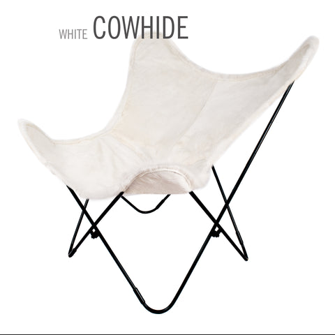 LIMITED WHITE COWHIDE BUTTERFLY LEATHER CHAIR