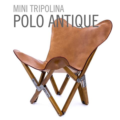 MINI LEATHER BUTTERFLY CHAIR POLO ANTIQUE
