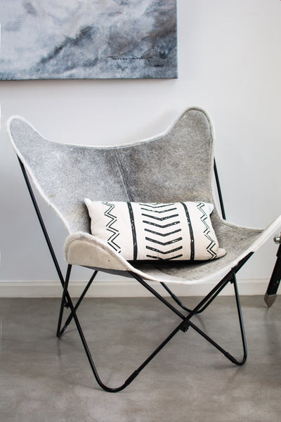 CHRISTMAS SPECIAL EDITION SNOWY WHITE AND GREY COWHIDE LEATHER BUTTERFLY CHAIR