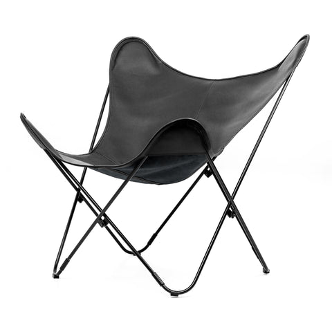 MATTE BLACK PEBBLED LEATHER BUTTERFLY CHAIR