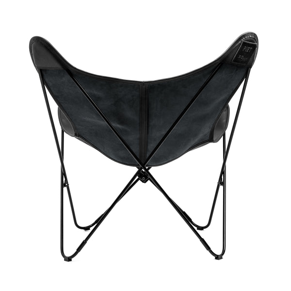 PIET MATTE BLACK PEBBLED LEATHER BUTTERFLY CHAIR