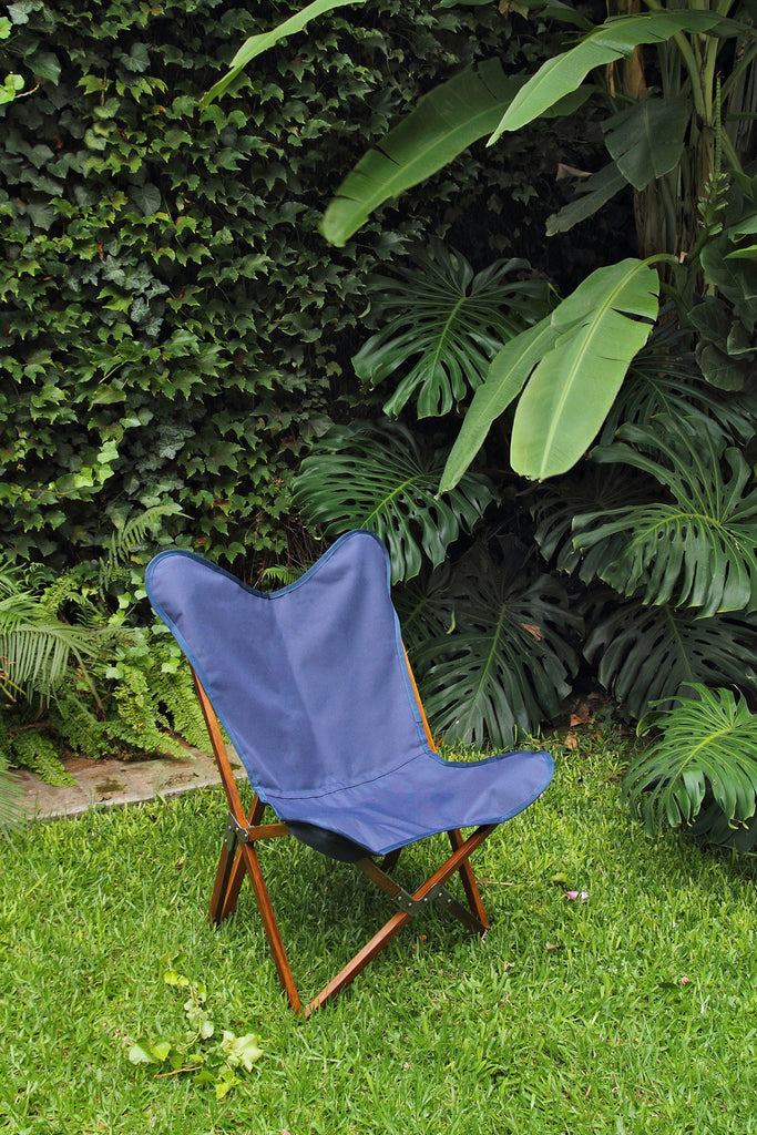 SUNBRELLA BLUE FABRIC TRIPOLINA CHAIR