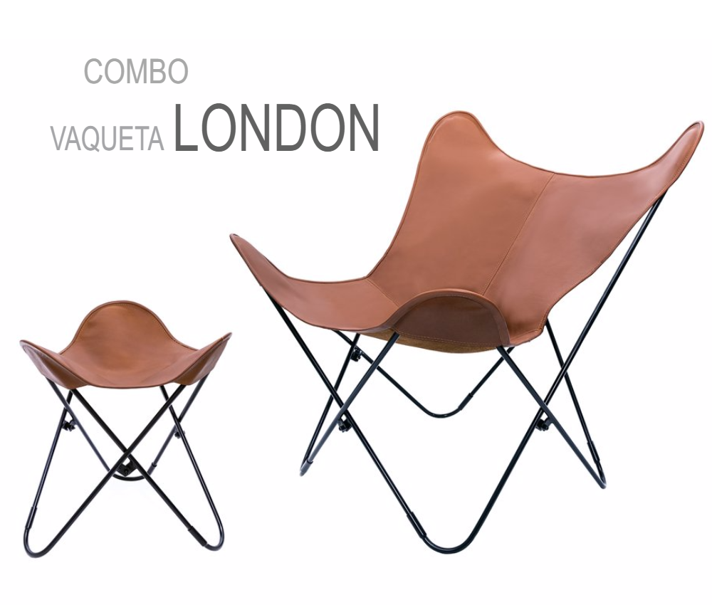 COMBO VAQUETA LEATHER BUTTERFLY CHAIR WITH OTTOMAN