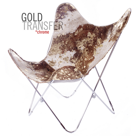 COWHIDE GOLD TRANSFER BUTTERFLY LEATHER CHAIR