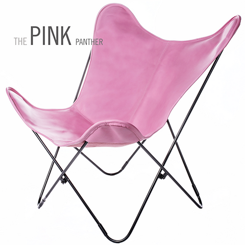 PINK LEATHER BUTTERFLY CHAIR