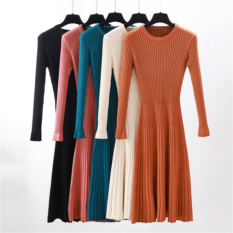 Women Stretchable Long Sleeve Winter Sweater Dress