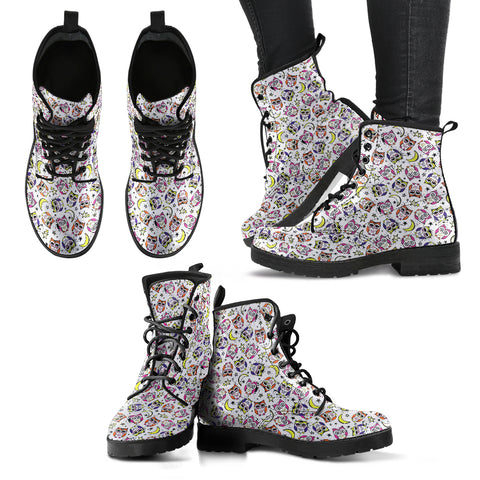 Owl Pattern Women's Leather Boots