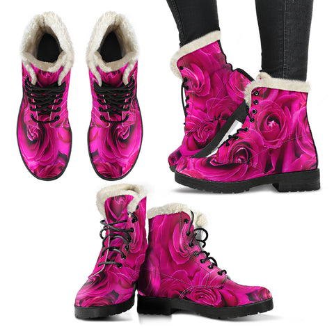 Women's Pink Roses Faux Fur Leather Boots