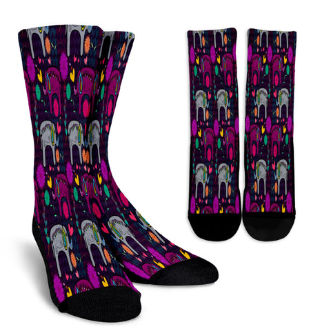 Elephant Hearts and Flowers Crew Socks