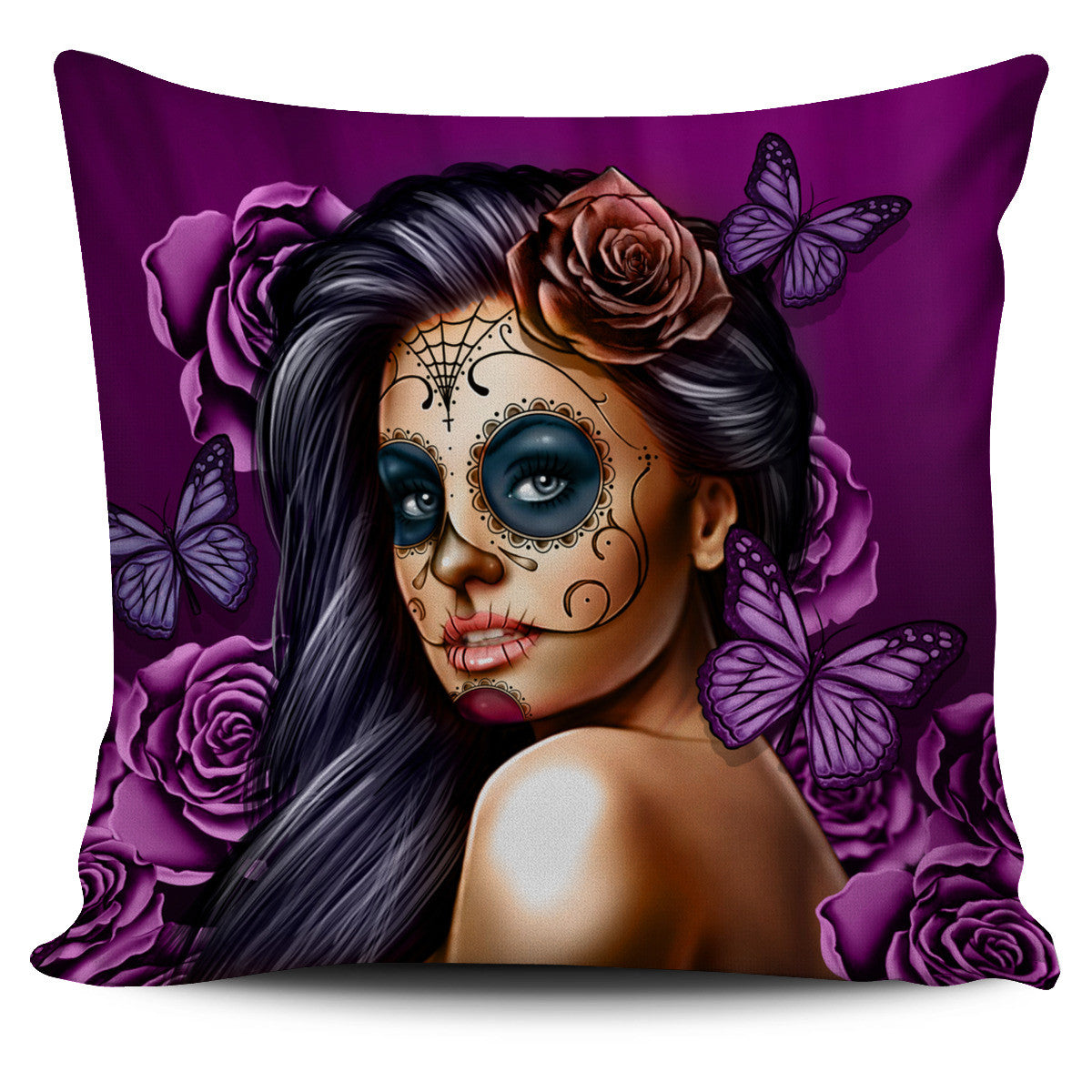 Tattoo Calavera Girl Pillow Cover Set