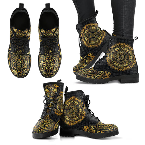 Gold Mandala Women's Leather Boots
