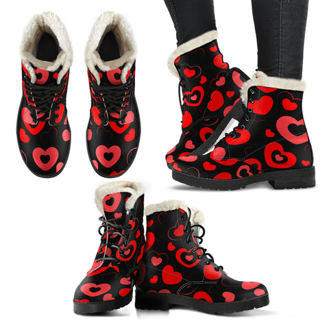 Hearts Faux Fur Leather Boots
