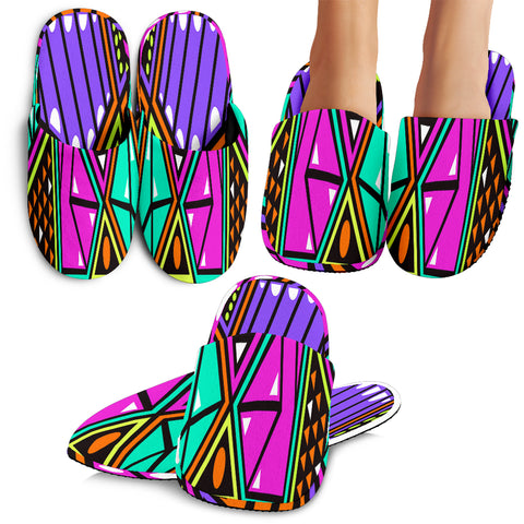 Colorful Geometric Shapes Slippers