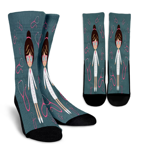 Nurse Stethoscope Crew Socks
