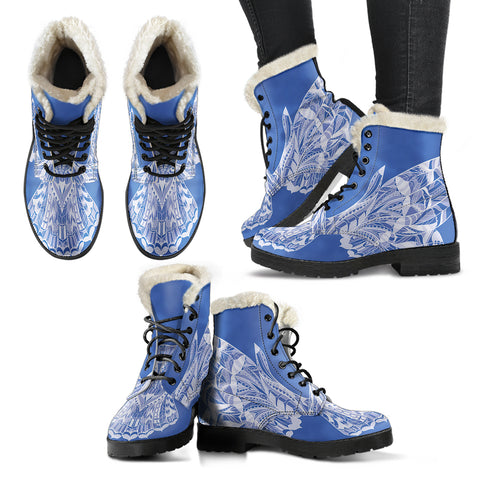 Blue Owl Faux Fur Leather Boots