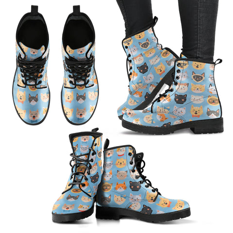 Cute Cat Faces Women's Leather Boots