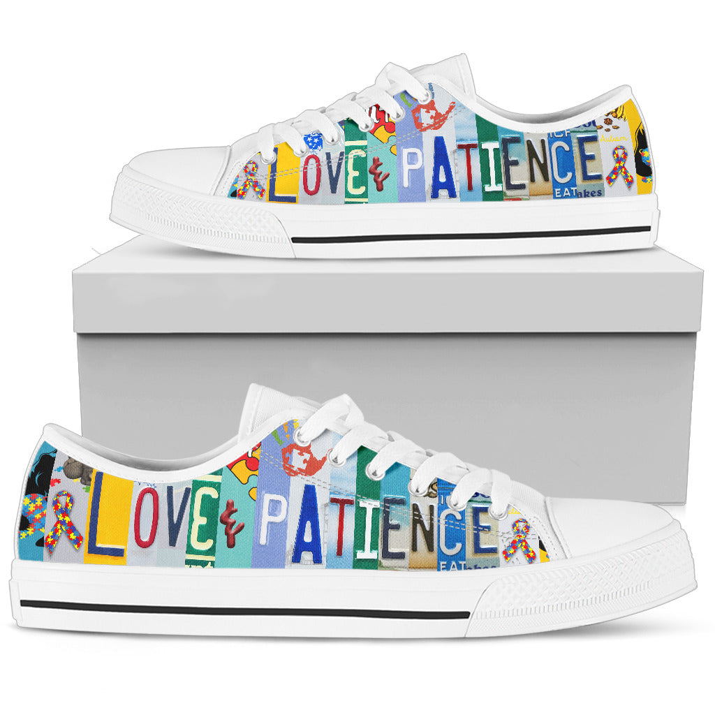 Love and Patience White Low Top Shoes
