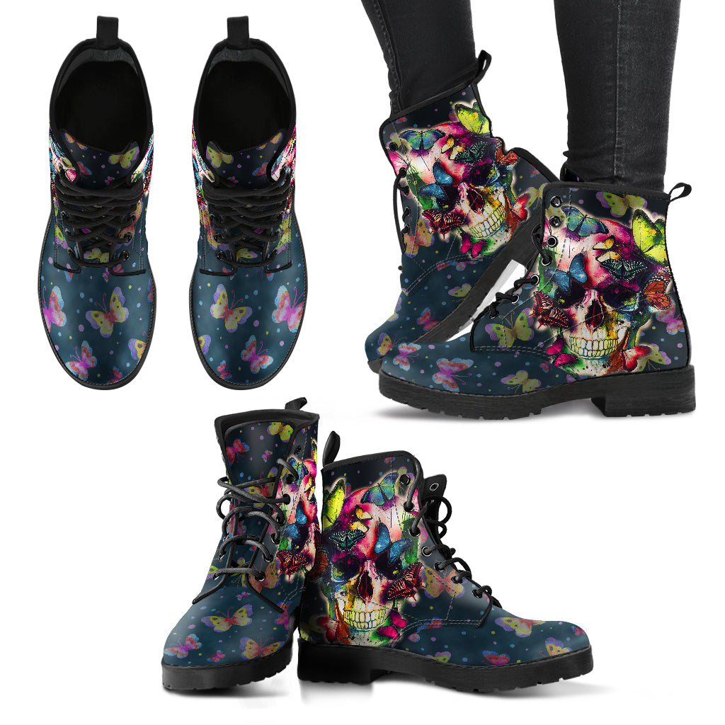 Butterfly Skull Women's Leather Boots