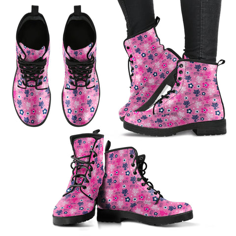 Cute Kitten Women's Leather Boots