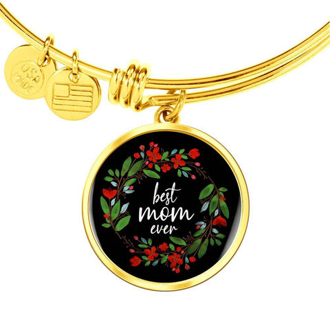 Best Mom Ever Gold Pendant Bangle