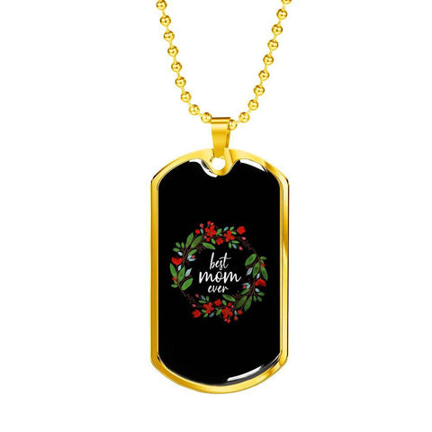 Best Mom Ever - Engraved Gold Tag Pendant Necklace