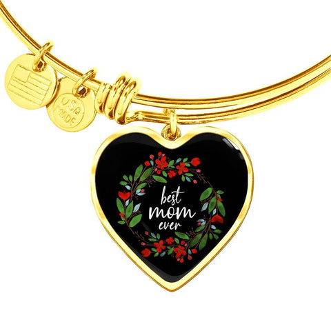 Best Mom Ever - Engraved Gold Heart Pendant Bangle