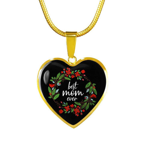 Best Mom Ever Gold Heart Necklace
